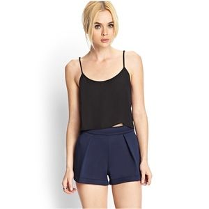FOREVER 21 Pleated Scuba Knit Navy Shorts Size S